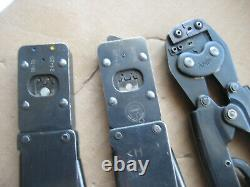 3 Amp Hand Crimp Tools Lot 90067-5, 90202-2, 220009-1 Used W Owner Marks / Wear