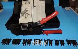 Burndy OUR840 Hytool Hand Ratchet Cable Crimper Crimp Tool metal case & 8 dies