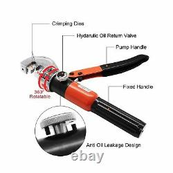 CKE Upgraded 10 Ton Hydraulic Cable Crimper Hand Tool for 1/8, 3/16 Stainless