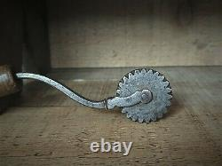 Early American Pastry Jagger Pie Crimper Hand Forged Baking Tool Signed Handle
