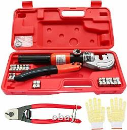 Hydraulic Crimping Tool Set Wire Stainless Steel Cable Railing Kit Hand Crimper