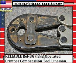 RELIABLE Rel-BG Hand Operated Crimper Compression Tool Lineman. Fast Shipping