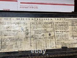 Thomas & Betts Co TBM-8 Wire Lug Crimper Hand Tool with 8 Dies in Box ED4U #A