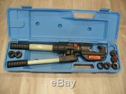 Thomas & Betts TBM14M hand hydraulic crimper, crimping tool, case & 7 dies. T&B