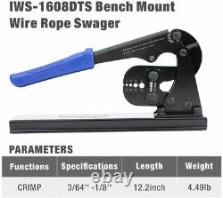 Wire Rope Crimping Tool Bench Mounted Fishing Crimp Kit Hand Swager, Railing Fit